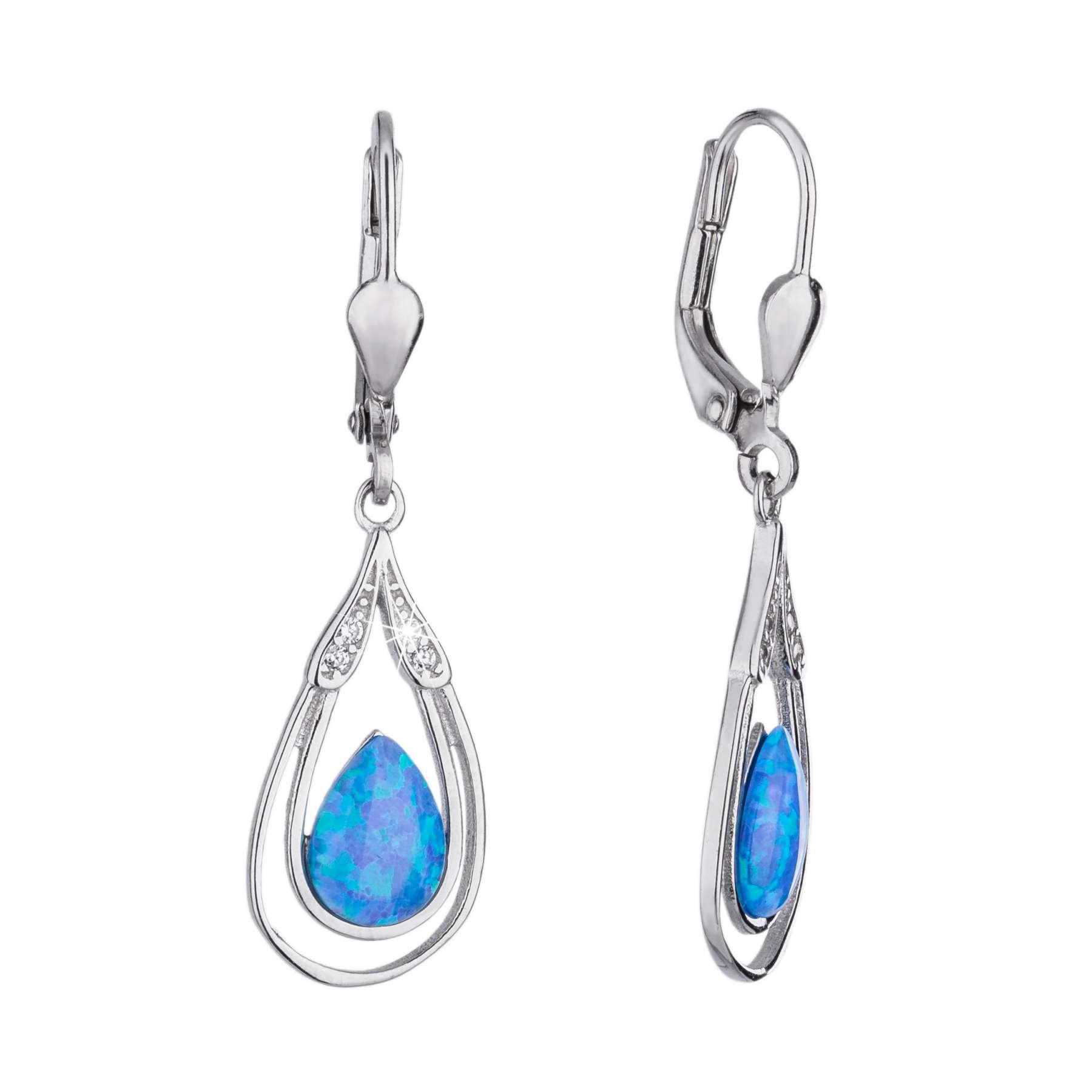 c3fdfec27 Visací stříbrné náušnice ve tvaru kapky s velkými modrými opály a bílými  zirkony, klasické zapínání